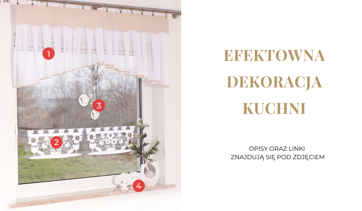 Efektowna dekoracja okna w kuchni